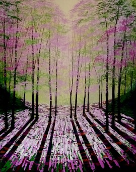 Amanda Horvath Wild Wood Rose Landscape Painting, Impressionist Art, Affordable Contemporary Painting