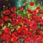 Ann Bridges. Late afternoon sunshine (poppies) Original painting using oil based ink Wychwood Art