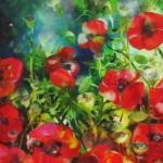 Ann Bridges. Late afternoon sunshine (poppies) Original painting using oil based ink Wychwwod Art (2)