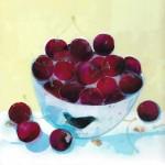 Ann Bridges. Stealing Red Cherries. Original painting using Oil based ink Wychwood Art