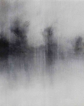 Annamarie Dzendrowskyj. Fleeting Moments IV . Oil on Linen. Original oil painting, Abstract art, Contemporary monochrome painting.