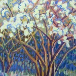 Flowering Trees Original Painting by Rosemary Farrer Detail 1