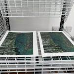 Jennifer Jokhoo Emerald forest linocut drying rack
