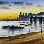London Panorama – Greenwich Shoreline 30 x 120 cm (12 x 39 inch) Wychwood Art