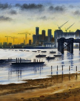 London Panorama - Greenwich Shoreline 30 x 120 cm (12 x 39 inch) Wychwood Art