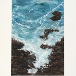 Mary Knowland Foaming Waters Original Mixed Media Painting with Collage in Mount