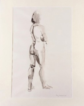 Mary Knowland Looking Over. Original Figurative Drawing