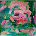 Rosewater Framed Floral Green Pink Summer Abstract Alanna Eakin
