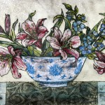 Vicky Oldfield, Bowl of lilies,  Wychwood Art, Original Print,  Royal Academy Summer Exhibition Artist