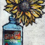 Vicky Oldfield, Sunflower in a bottle, Hand coloured collagraph print, Contemporary art a