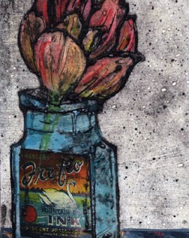 Vicky Oldfield, Tulip, Hand coloured collagraph print with chine colle, Contemporary original art