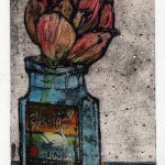 Vicky Oldfield, Tulip, Hand coloured collagraph print with chine colle, Contemporary original art b
