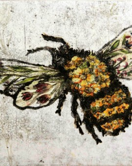 Vicky Oldfield, Weeds feed bees, Hand coloured collagraph with chine colle, Contemporary art, bee picture