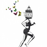 freedom_framed_birdcage_butterflies_running_mentalhealth_screenprint_katie_edwards_illustration