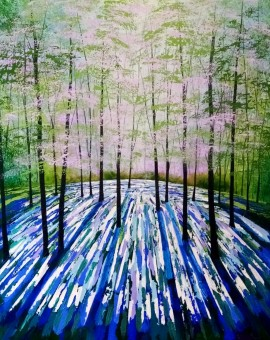 Amanda Horvath  Lantern Blue       Landscape Painting, Impressionist Art, Affordable Contemporary Painting