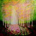 Amanda Horvath  Rose and Golden Wood       Landscape Painting, Impressionist Art, Affordable Contemporary Painting