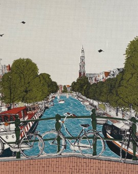 Cycle City, Amsterdam, 10 colour screen print, image size 35x35cm, paper size 37x38cm, edition of 50, unframed retail price price £250