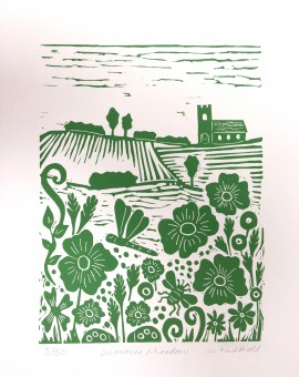 Joanna Padfield Summer Meadow Linocut Print 1