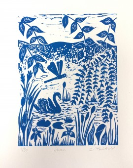 Joanna Padfield Swan Linocut Print 1