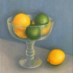 Jonquil Williamson Lemons and Limes in Glass Bowl Canvas Still Life Oil Painting Wychwood Art