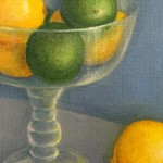 Jonquil Williamson Lemons and Limes in Glass Bowl Close up Still Life Oil Painting Wychwood Art