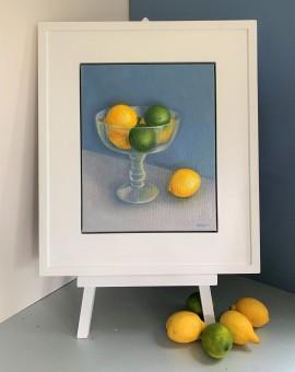 Jonquil Williamson Lemons and Limes in Glass Bowl Easel Still Life Oil Painting Wychwood Art