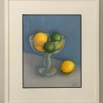Jonquil Williamson Lemons and Limes in Glass Bowl Framed 1 Still Life Oil Painting Wychwood Art