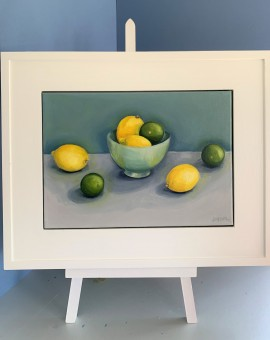 Jonquil Williamson Lemons and Limes on easel Wychwood Art