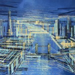 Marc Todd. London On A Summer Night, Original Contemporary Cityscape Painting, London Paintings For Sale Online