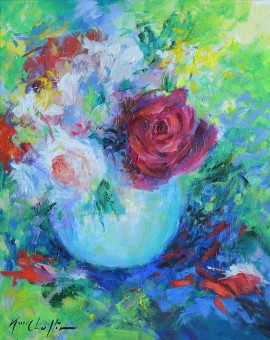 Mary Chaplin Roses in an opaline vase Wychwood Art