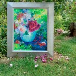Mary Chaplin Roses in an opaline vase shown with a frame Wychwood Art