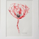 Mary Knowland Poppy13 Wychwood Art Original Monoprint  in Mount size 52cmhx40.5cmw