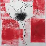 Mary Knowland Poppy14 Wychwood Art Original Monoprint Image size 29cmhx21.5cmw