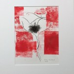 Mary Knowland Poppy14 Wychwood Art Original Monoprint in Mount 44.5cmhx37cmw