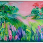 This Ones For You Abstract Landscape Pink Green Brushstrokes