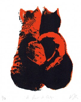 A_pair_of _cats_valentines_day_love_heart_animals_pairs_in_love_true_love_romance_screenprint_katie_edwards_illustration_art