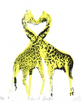 A_pair_of _giraffes_valentines_day_love_heart_animals_pairs_in_love_true_love_romance_screenprint_katie_edwards_illustration_art