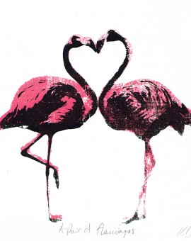 A_pair_of_flamingos_valentines_day_love_heart_animals_pairs_in_love_true_love_romance_screenprint_katie_edwards_illustration_art