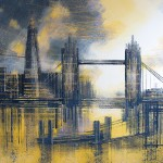 Marc Todd. London Tower Bridge At Sunset, Original Contemporary Cityscape Painting, London Paintings For Sale Online