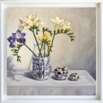 Marie Robinson_Freesias and Quail Eggs_Framed_Wychwood Art