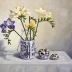 Marie Robinson_Freesias and Quail Eggs_Wychwood Art