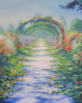 Mary Chaplin Along the nasturtium path in Monet s garden in Giverny 100x80cm, acrylic on linen canvas Wychwood Art