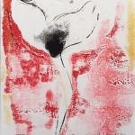 Mary Knowland Poppy 18 Wychwood Art Original Signed Monoprint Image size 26cmhx18.5cmw Mount size 44.5cmhx34.5cmw