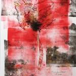Mary Knowland Poppy17 Wychwood Art Original Signed Mounted Monoprint Image size 28cmhx 22cmw