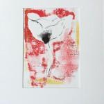 Mary Knowland Poppy18 Wychwood Art Original Signed Monoprint in Mount size 44.5cmhx34.5cmw. Image size 26cmhx18.5cmw