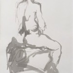 Mary Knowland 'Seated' Wychwood Art Original Signed Figurative Ink Drawing. Mounted. Image size 51cmhx30cmw