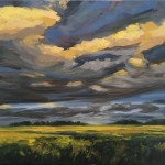 Suzanne Winn Evening Light Over The Wheatfield  Wychwood Art Original Landscape Painting