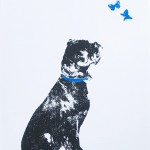 curious_black_dog_black_boxer_dog_butterfly_screenprint_katie_edwards_illustration_art