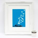 flying_low_framed_woman_reading_book_birds_blue_screenprint_katie_edwards_illustration_art