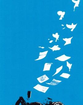 flying_low_woman_reading_book_birds_blue_screenprint_katie_edwards_illustration_art